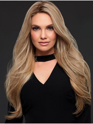 100% Handgeknoopt Lang Stijl Golvend Blond Pruiken Echt Haar