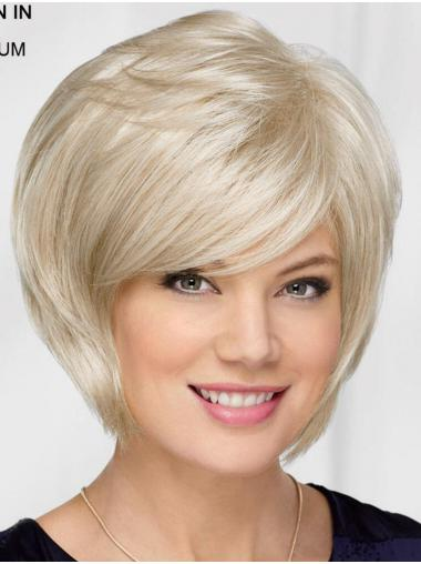 Halflang Steil Platinum Blonde Synthetische Perfect Bobline Pruiken