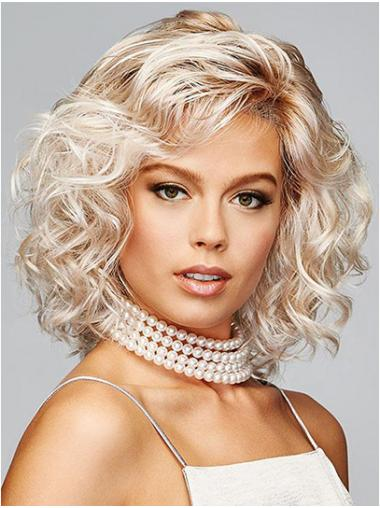 "Platinum Blonde Krullen 12"" Bobline Lace Front Pruiken"