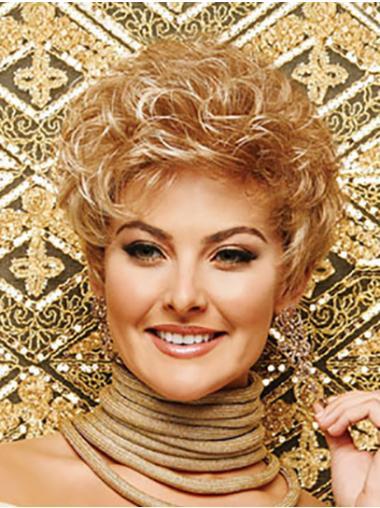 """Synthetische 6"""" Bijgesneden 100% Machinaal Blond Klassiek Pruiken"""