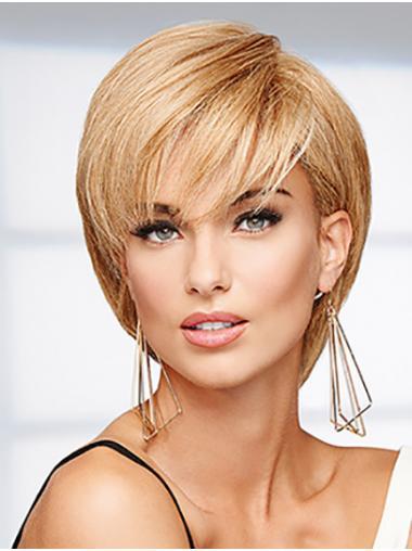 """10"""" Steil Kin lengte Blond Bobline Pruiken Echt Haar"""
