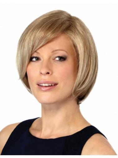 Blonde Steil,Bobline Betoverend Monofilament Pruiken