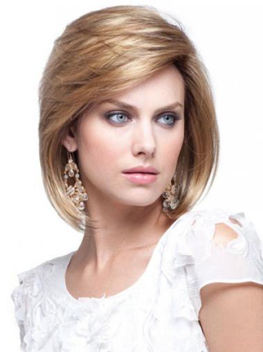 Blonde Halflang modieuze Pruiken Echt Haar