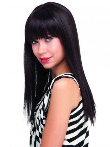 Zwart Lang Verfijnd Pruiken Echt Haar