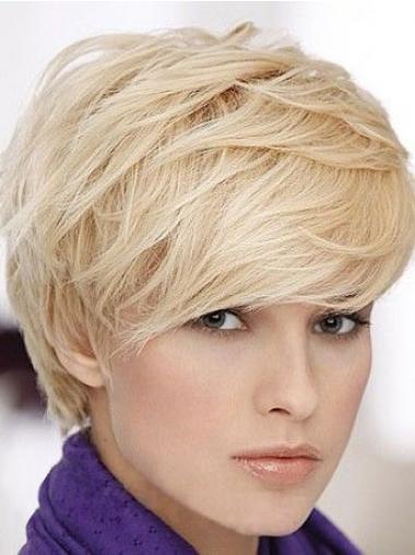 Blonde Kort Zacht Pruiken Echt Haar