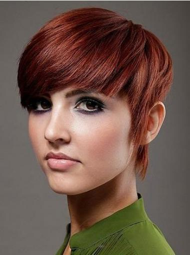 Rood Kort Glad Pruiken Echt Haar