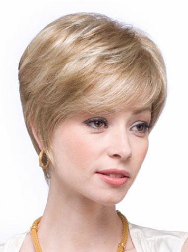 Blonde Kort Populair Pruiken Echt Haar