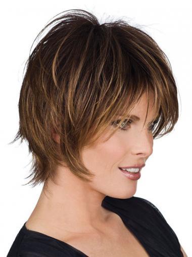 Bruin Kort Perfect Pruiken Echt Haar