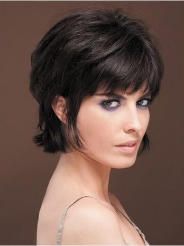 Zwart Kort Natuurlijk Pruiken Echt Haar