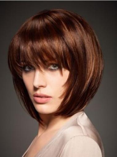 Kastanjebruin Halflang Modern Pruiken Echt Haar