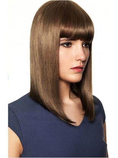 Bruin Halflang Prachtig Pruiken Echt Haar