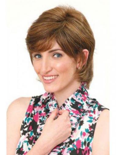 Bruin Halflang Flexibiliteit Pruiken Echt Haar