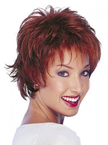 Rood Kort Ontworpen Pruiken Echt Haar