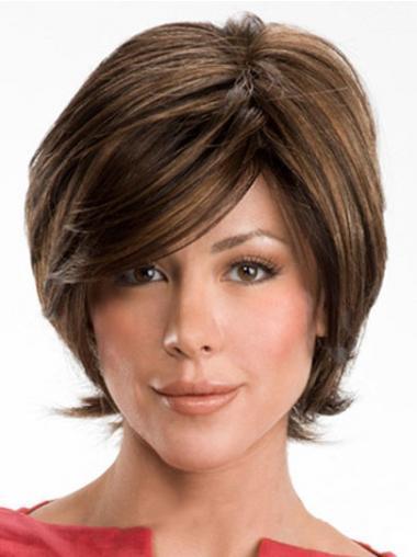 Bruin Kort Gemakkelijk Pruiken Echt Haar