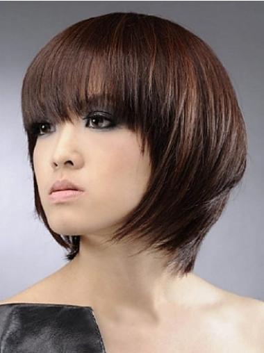 Kastanjebruin Halflang Goedkoopste Pruiken Echt Haar