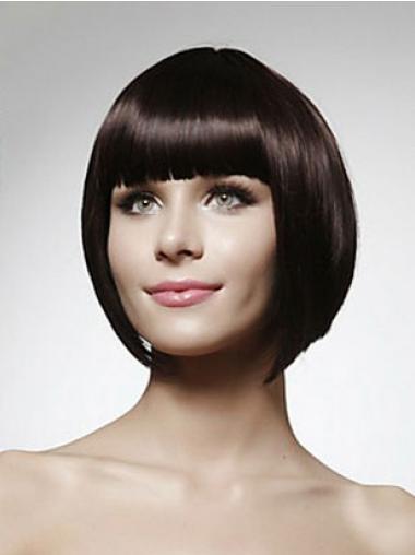 Zwart Halflang Koel Pruiken Echt Haar