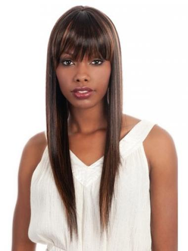 Prachtig Lang Steil Afro Amerikaanse Pruiken
