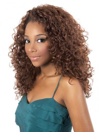 Preferentieel Halflang Krullen Afro Amerikaanse Pruiken