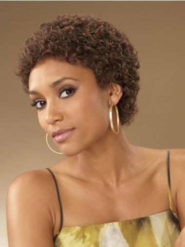 Perfect Kort Krullen Afro Amerikaanse Pruiken