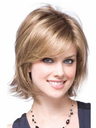 Blonde Halflang Mooi Synthetische Pruiken
