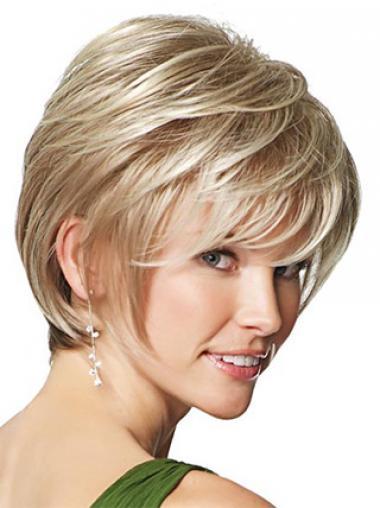 Blonde Kort Flexibiliteit Synthetische Pruiken