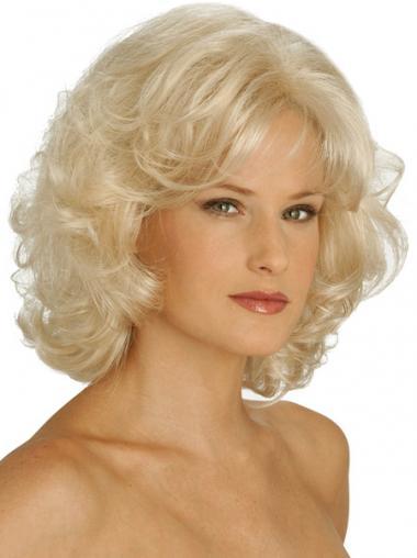 Blonde Halflang Ontworpen Klassiek Pruiken