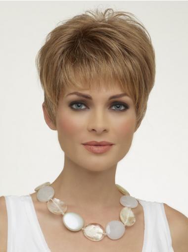Blonde Kort Schijnend Synthetische Pruiken