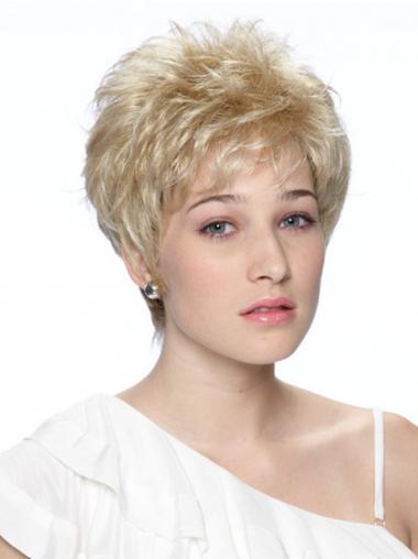 Blonde Kort Beleefd Synthetische Pruiken