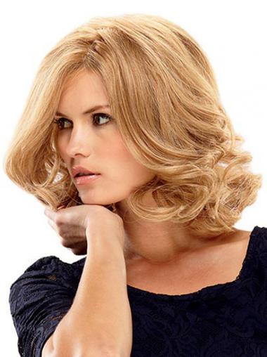 Blonde Golvend,Stijl Geschikt Monofilament Pruiken