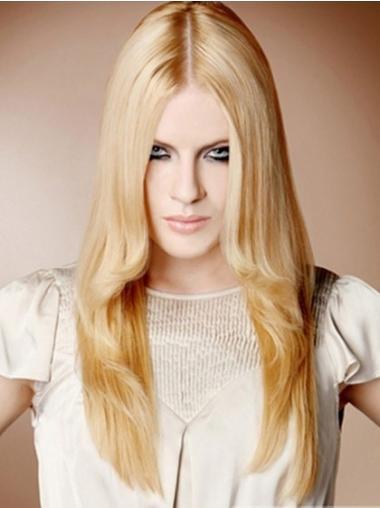 100% Handgeknoopt Blonde Sassy Lange Pruiken