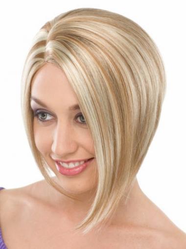 Aangenaam Halflang Blonde Bobline Pruiken