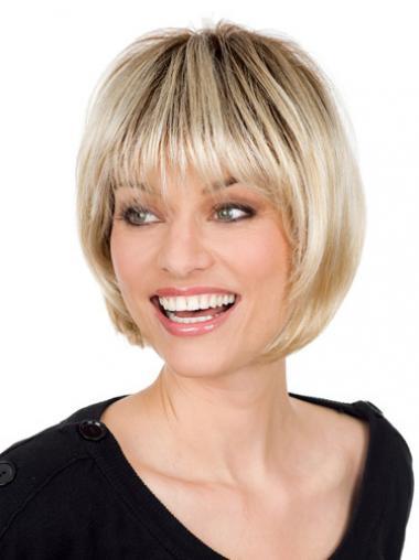 Blonde Steil Preferentieel Grijze Pruik