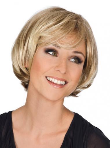 Blonde Golvend,Bobline Stralend Monofilament Pruiken