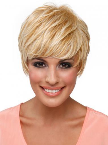 Blonde Betaalbare Synthetische Korte Pruiken