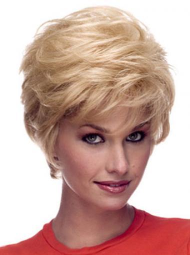 Blonde Gemakkelijk Remy Naturrlijk Haar Korte Pruiken