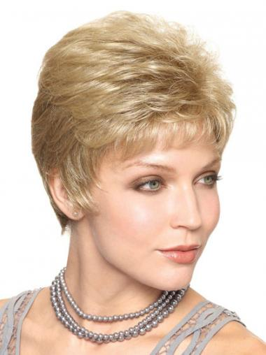 Blonde Kort Verfijnd Klassiek Pruiken