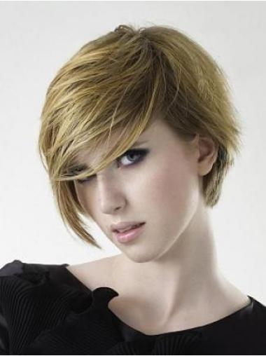 Blonde Volwassen Remy Naturrlijk Haar Korte Pruiken