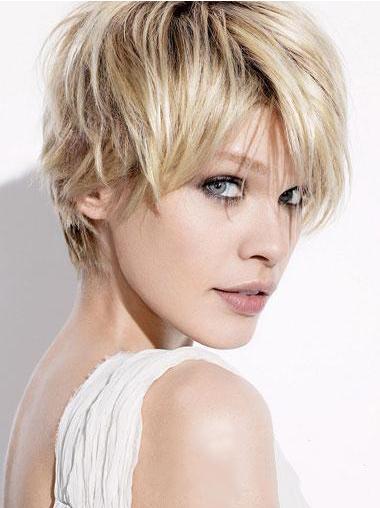 Blonde Betaalbare Remy Naturrlijk Haar Korte Pruiken