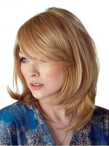 Blonde Halflang Rustgevend Lange Pruiken