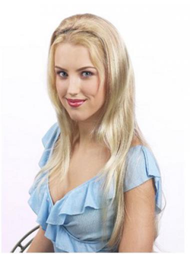 Blonde Lang Korting Half Pruiken
