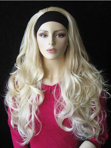 Blonde Lang Elegant Half Pruiken