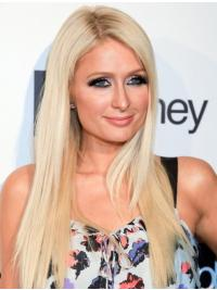 100% Handgeknoopt Lang Knus Paris Hilton Pruik
