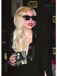 100% Handgeknoopt Lang Aangenaam Lady Gaga Pruik