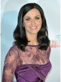 Zwart Halflang Zacht Katy Perry Pruik