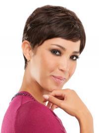 Bruin Kort Top Pruiken Echt Haar