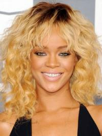 Blonde Halflang Elegant Rihanna Pruik