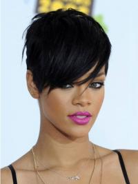 Zwart Kort Verfijnd Rihanna Pruik