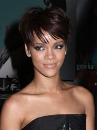 Kastanjebruin Kort Teder Rihanna Pruik