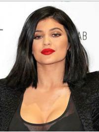 Full Lace Halflang Rustgevend Kylie Jenner Pruik